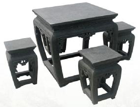 Hand carved stone Squared Table with set of 4 chairs